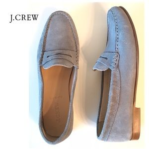 J crew grey James suede penny loafers size 8.5
